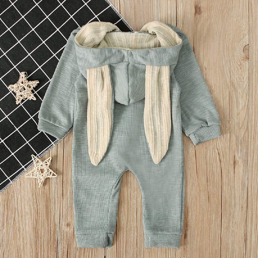 HBER Newborn Baby Toddler Boys Girls Zipper Hoodie Romper Jumpsuit Outfit Long Sleeve Rabbit Ear Organic Cotton Clothes