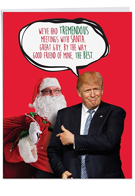 Christmas Trump Funny.Hilarious Trump Meetings With Santa Happy Holidays Notecard With Envelope 8 5 X 11 Inch Funny Christmas Greeting Card Santa Claus Is President