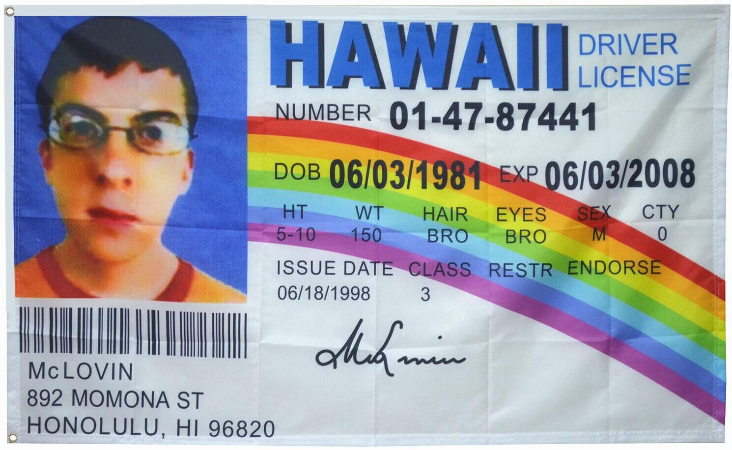 AUMIAU McLovin Fake ID Flag Banner 3x5Ft College Dorm Room Man Cave Frat Wall Outdoor Flag