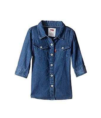 Levi s Kids Baby Girl s 3 4 Sleeve Denim Top (Toddler) Blue Winds Button 9727287bed