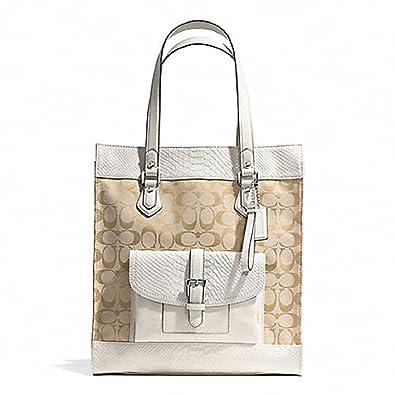3248da193d8a Coach Charlie Signature Python Tote  F31945 (Silver Light Khaki Parchment)   Handbags  Amazon.com