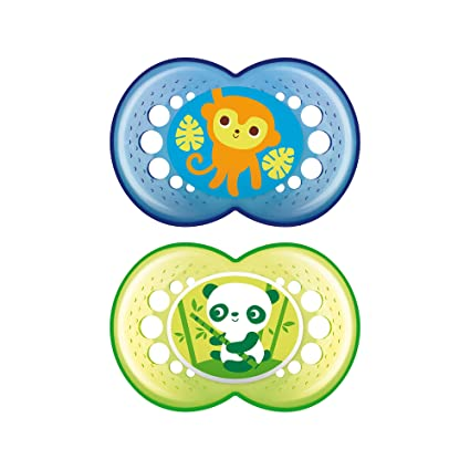 MAM Pacifiers, Baby Pacifier 6+ Months, Best Pacifier for Breastfed Babies, Crystal Design Collection, Boy, 2-Count
