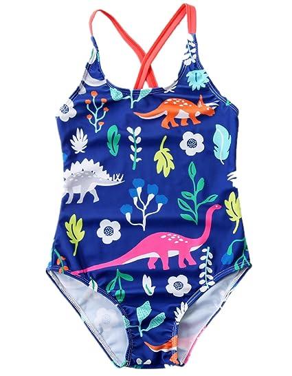 db5b94035 Extrayou Little Girl Cute Dinosaur Pattern One Piece Swimsuit Summer  Monokini Beachwear Bathing Suit Blue 4