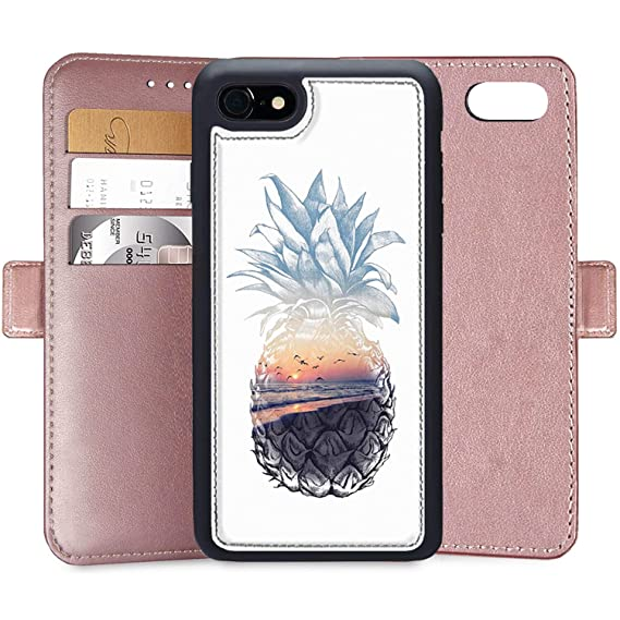 finest selection e4775 fdd7a Wallet Case for iPhone 7 Plus iPhone 8 Plus, Pineapple Art Custom PU  Leather Wallet Case for iPhone 7 Plus 8 Plus,6S Plus 6 Plus Magnetic  Closure ...