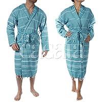 Hooded Bathrobe Pestemal Fabric 100% Turkish Cotton Kimono Unisex by Cacala Aqua