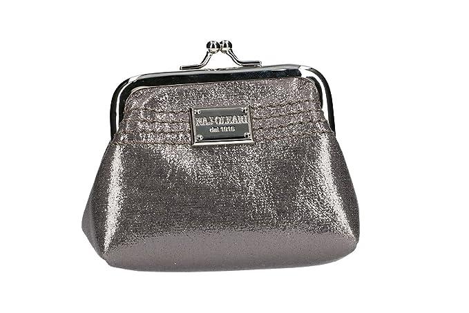 NAJ-OLEARI Cartera mujer bolso plata con apertura de metal VA2491: Amazon.es: Ropa y accesorios