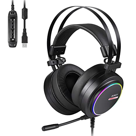 9d268728fac AUKEY Gaming Headset PC USB Stereo Headphone with Virtual 7.1 Surround Sound,  Noise Canceling Mic