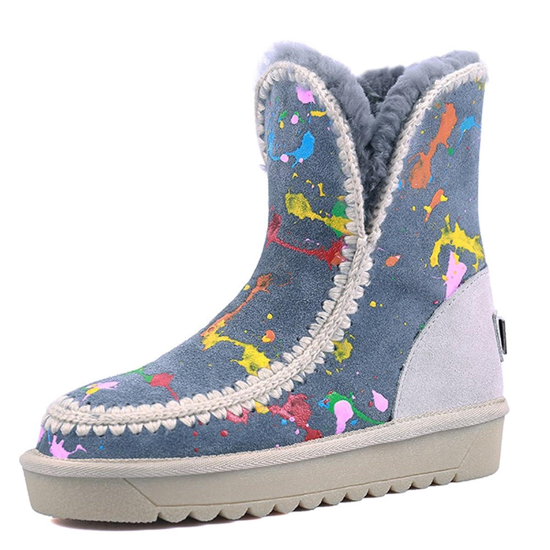 Nine Seven Suede Leather Women's Round Toe Flat Heel Color Contrast Handmade Snow Boot