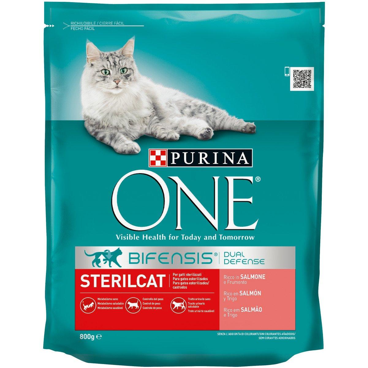 Purina ONE Bifensis Pienso para Gatos Esterilizados Salmón y Trigo 8 x 800 g: Amazon.es: Productos para mascotas