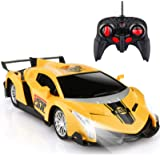 Growsland Remote Control Car, RC Cars Xmas Gifts for Kids 1/24 Electric Sport Racing Hobby Toy Car Yellow Model Vehicle…