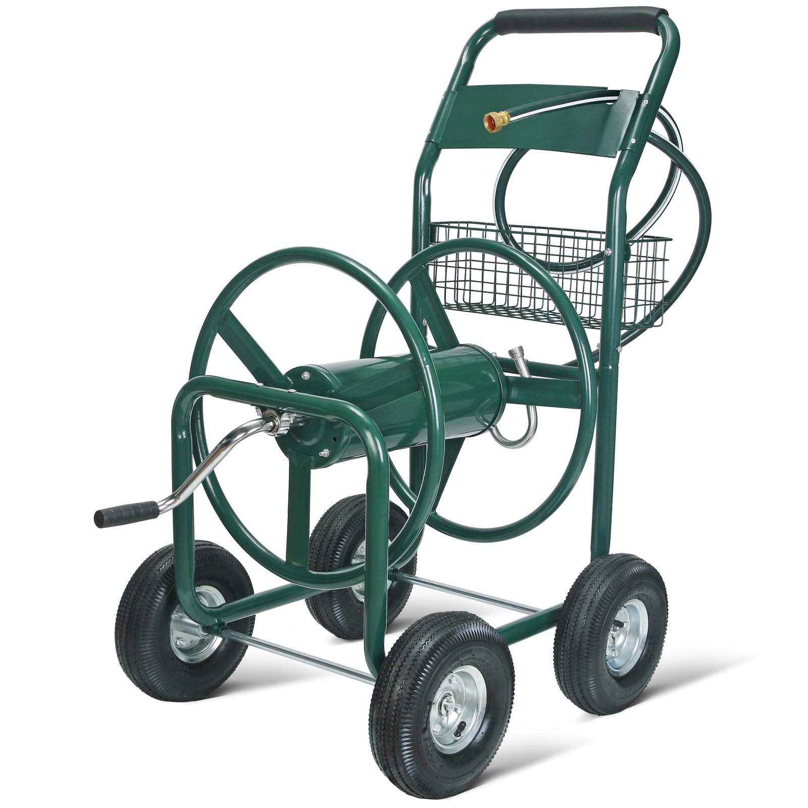 UenJoy Garden Water Hose Reel Cart 300FT Outdoor Heavy Duty Yard Water Planting Green