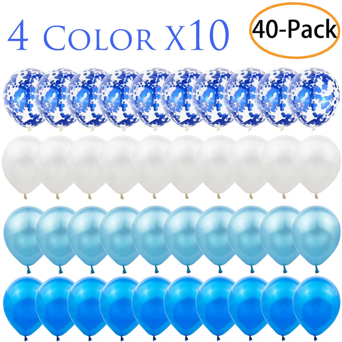 Birthday Zkptops 40 Pack 12 inch Blue Confetti Balloon Set Include 10 Pcs Confetti Balloons and 30 Pcs Latex Balloons for Wedding Bridal Shower Party Decorations Favors Baby Shower Blue and White