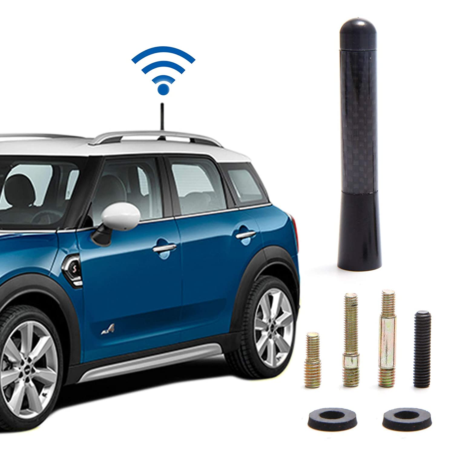 SurePromise Universal Antenna Car Roof Radio Signal Aerial Carbon Fibre 8cm Short Rod Styling FM AM Amplified Booster