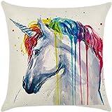 WLIFE Cotton Linen Throw Pillow Case Cushion Cover Home Decor - Unicorn Style