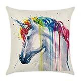 HENGSONG Unicorn Printed Pillow Case Colorful Linen Throw Pillow Cover Cushion Cover PillowCase Home Decor