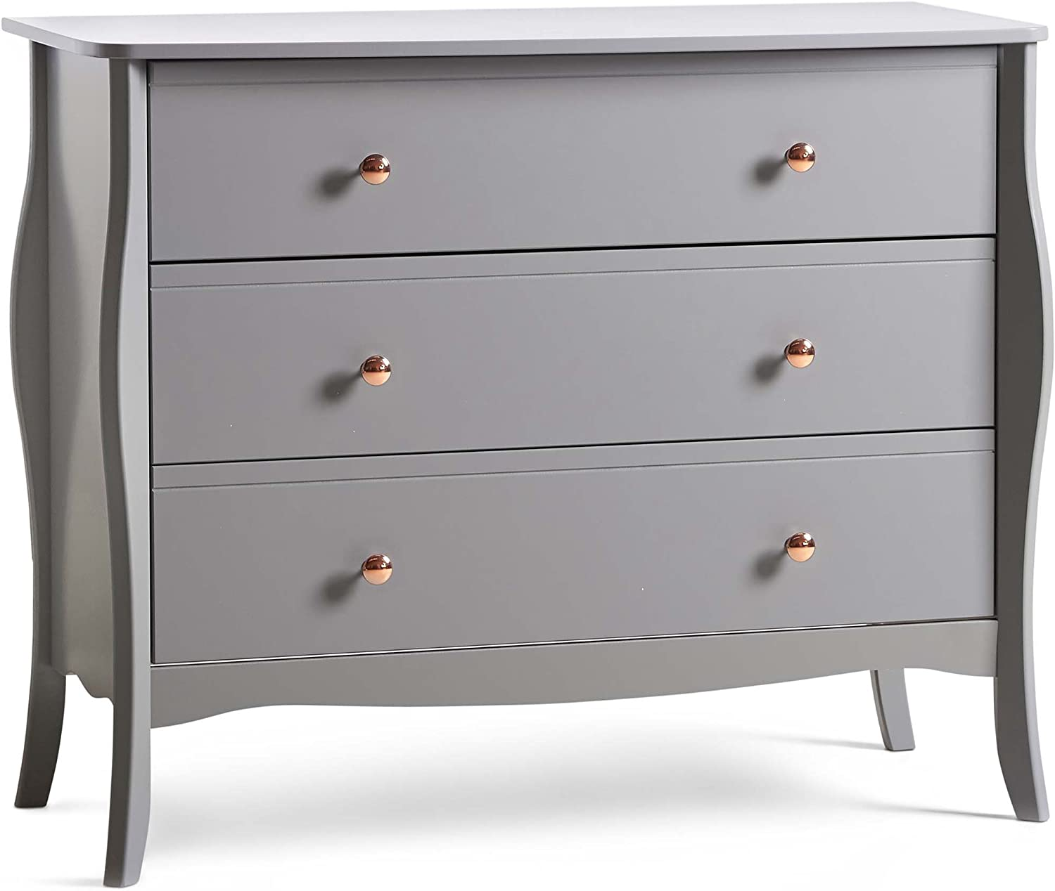 Beautify Grey Chest Of Drawers 3 Drawer Chest Bedroom Furniture Rose Gold Handles Amazon Co Uk Kitchen Home