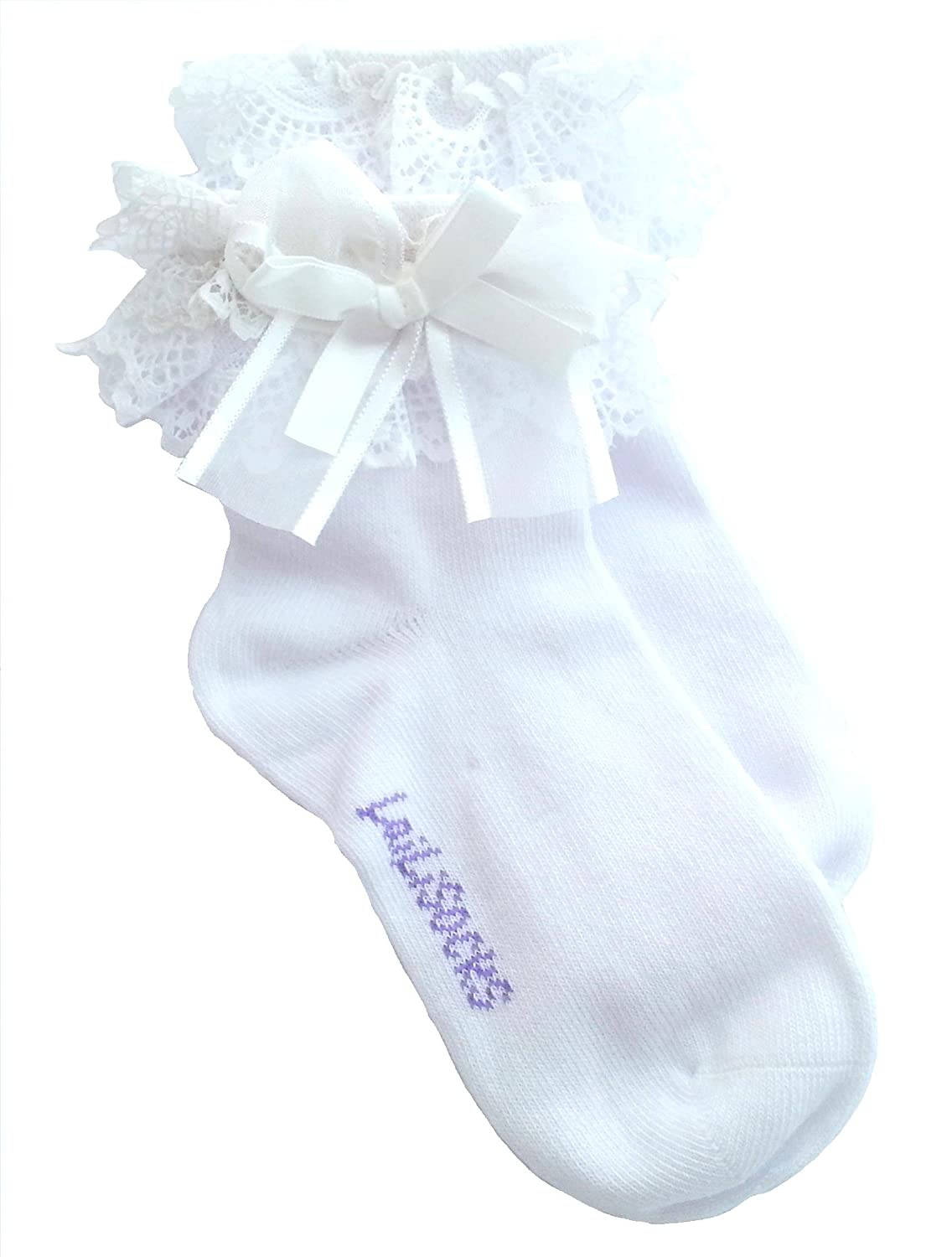 eca18096725 Top 4 Pairs of Girls Vintage Frilly WHITE School Socks Age 1 to 10 EL98
