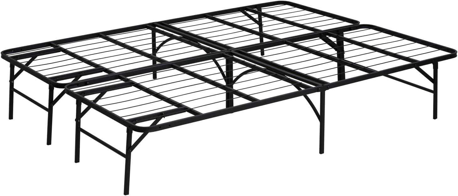 Furinno Angeland Mattress Foundation Platform Metal Bed Frame, Queen, black