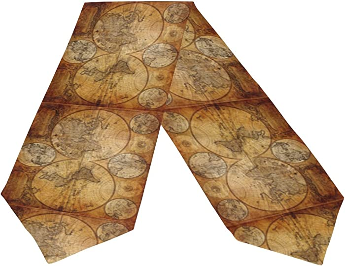 "Naanle Double-Sided Home Art Decor Vintage Old World Map Polyester Table Runner Cloth Cover & Bed Dresser Scarf Runners 13"" W x 70"" L Party Hotel Dinning Table Top Decoration"