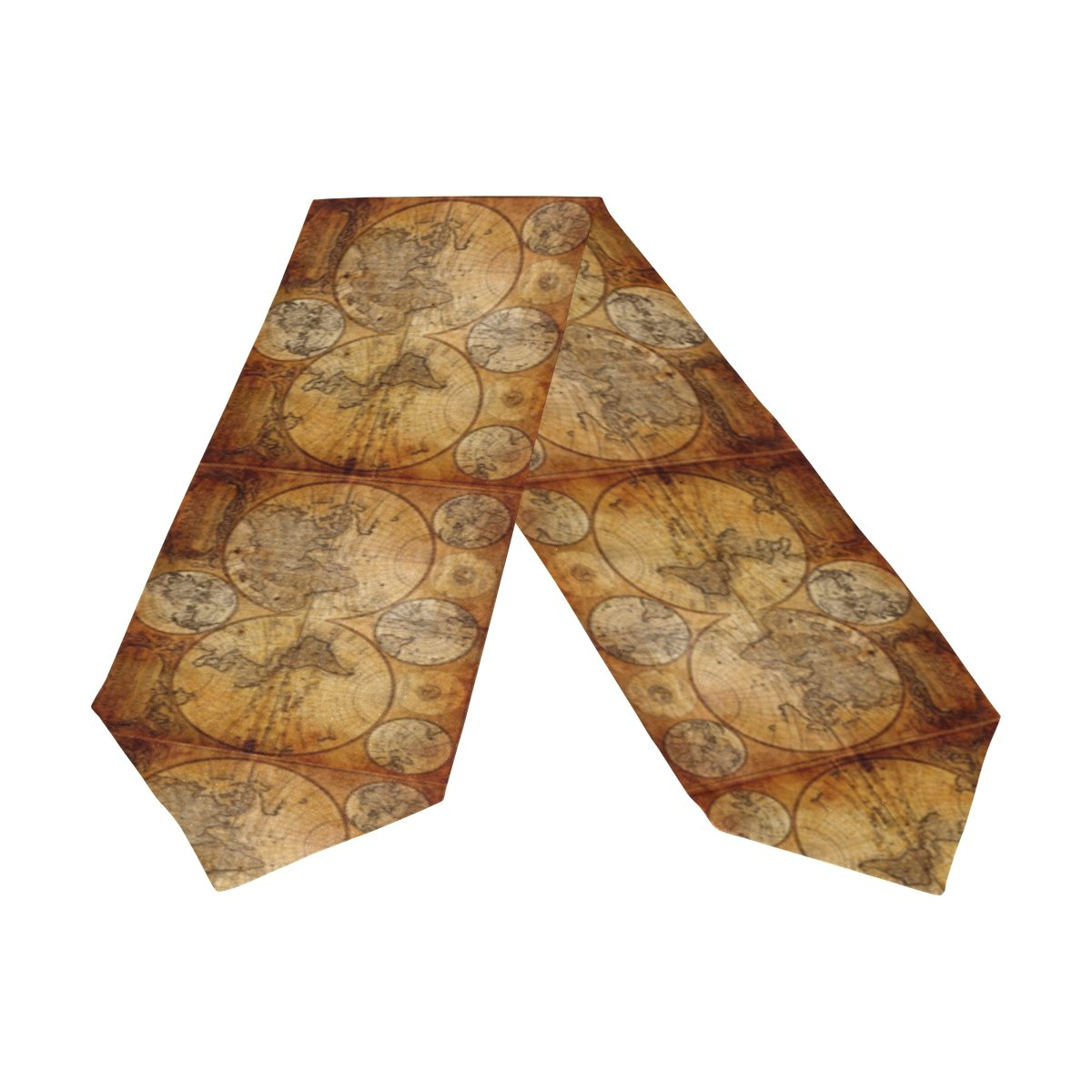 Naanle Double-Sided Home Art Decor Vintage Old World Map Polyester Table Runner Cloth Cover & Bed Dresser Scarf Runners 13'' W x 90'' L Party Hotel Dinning Table Top Decoration