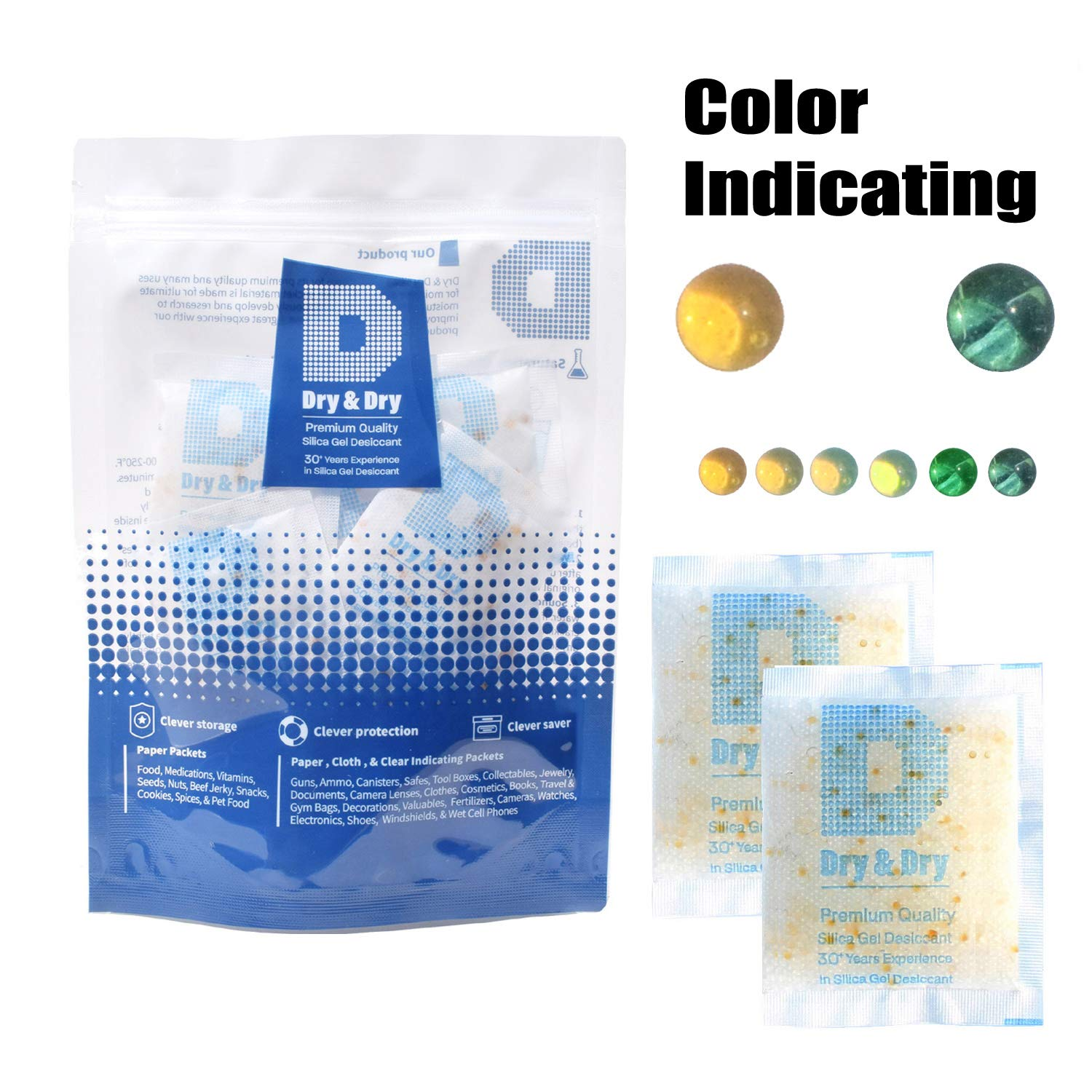 Dry & Dry 50 Gram [60 Packs] Premium Quality Food Safe Orange Indicating(Orange to Dark Green) Mixed Silica Gel Packets - Rechargeable(FDA Compliant) Silica Packets for Moisture