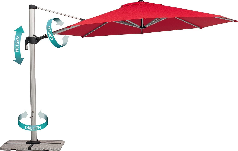 Amazon.de: Schneider Sonnenschirm Barbados, Rot, 350 Cm Rund, Gestell  Aluminium, Bespannung Polyester, 25.1 Kg