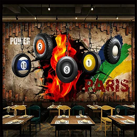 Mural, Imagen De Billar En 3D Papel Tapiz Decorativo De La ...