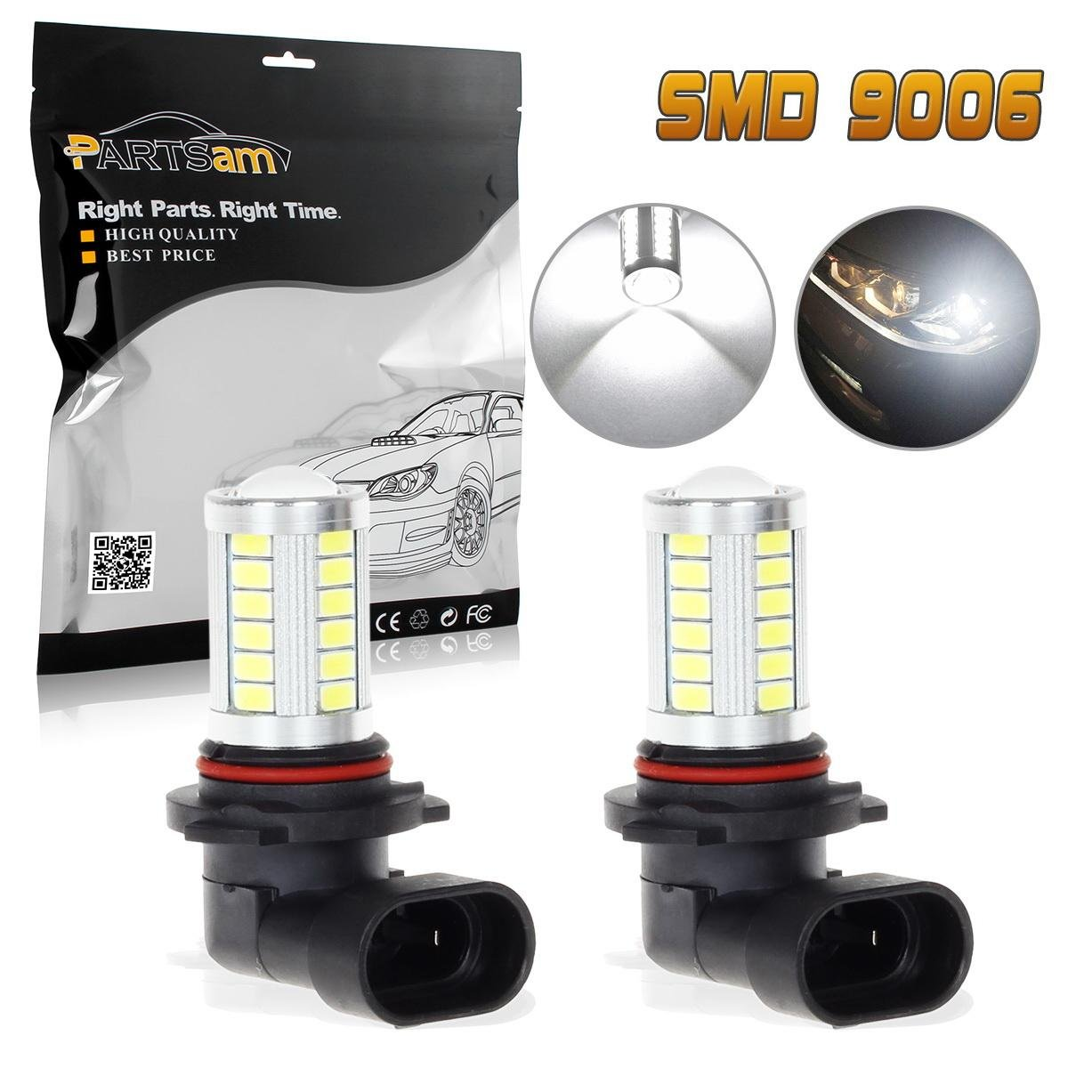 Amazon.com: Partsam 1 Pair 9006 9006XS 33-5730 Chip Epistar Super Power Led Fog Driving Light for Volkswagen Subaru Toyota: Automotive