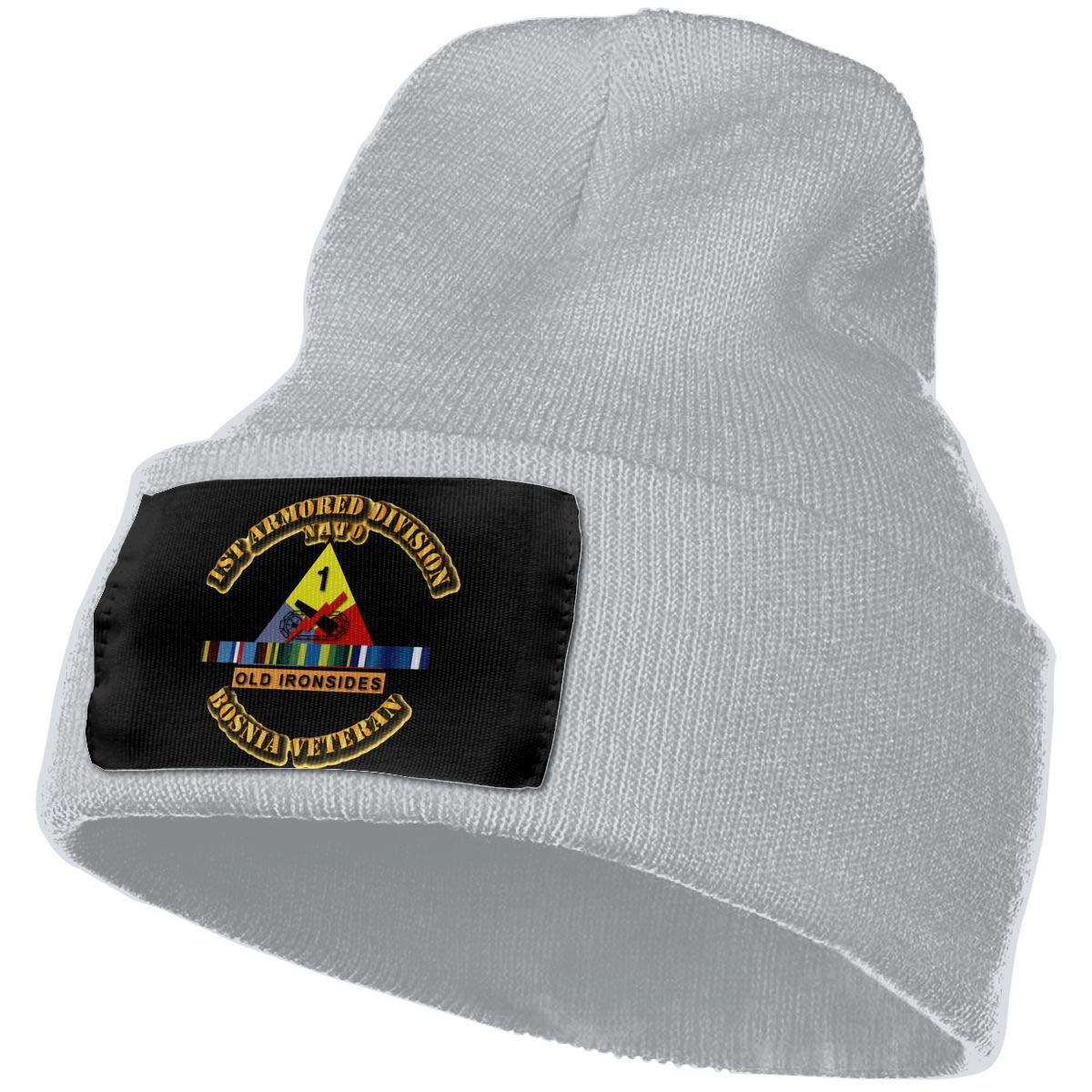 Army 1st Armored Division W Bosnia SVC Ribbons Men/&Women Warm Winter Knit Plain Beanie Hat Skull Cap Acrylic Knit Cuff Hat
