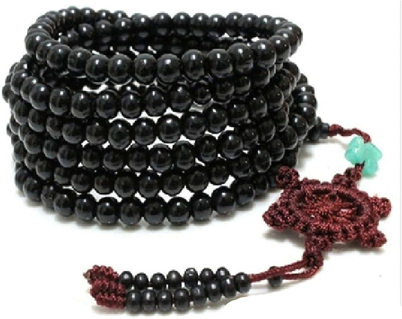 SODIAL(R) 216 pcs Cuentas De Sandalo De Tibetan Pulsera con Negro Cuentas Collar Pulsera Budista