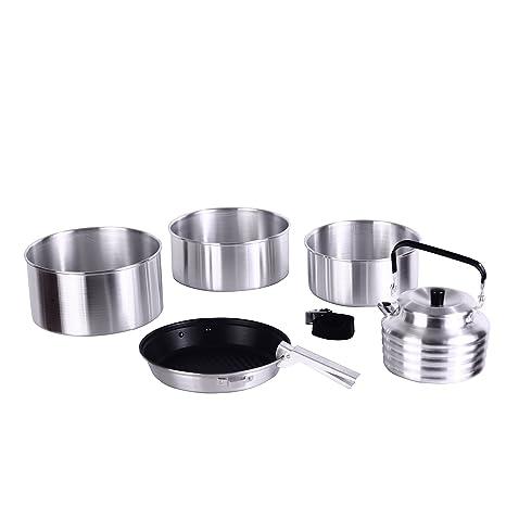 KingCamp Conjunto Apilable de Utensilios de Cocina de Aluminio para Camping Ligero Duradero Portatil para Picnic