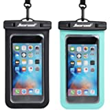 "Hiearcool Universal Waterproof Case,Waterproof Phone Pouch for iPhone 11 Pro Max XS Max XR X 8 7 6S Plus Samsung Galaxy s10/s9 Google Pixel 2 HTC Up to 7.0"",IPX8 Cellphone Dry Bag -2 Pack"