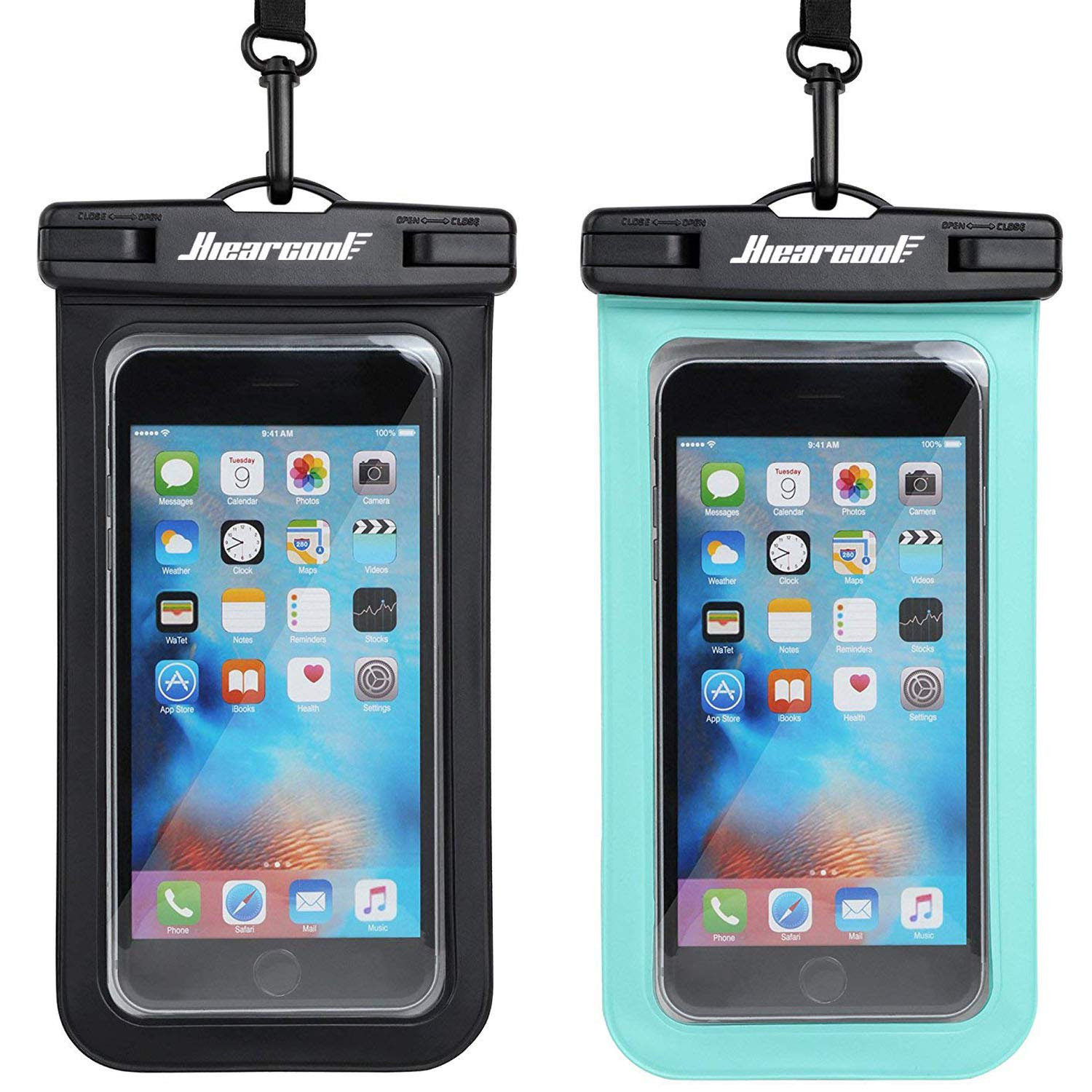 Universal Waterproof Case - Ansot IPX8 Waterproof Phone Pouch - Cellphone Dry Bag for iPhone X/8/ 8plus/7/7plus/6s/6/6s Plus Samsung Galaxy s8/s7 Google Pixel 2 HTC LG Sony Moto up to 7.0'' - 2 Pack by Hiearcool (Image #1)