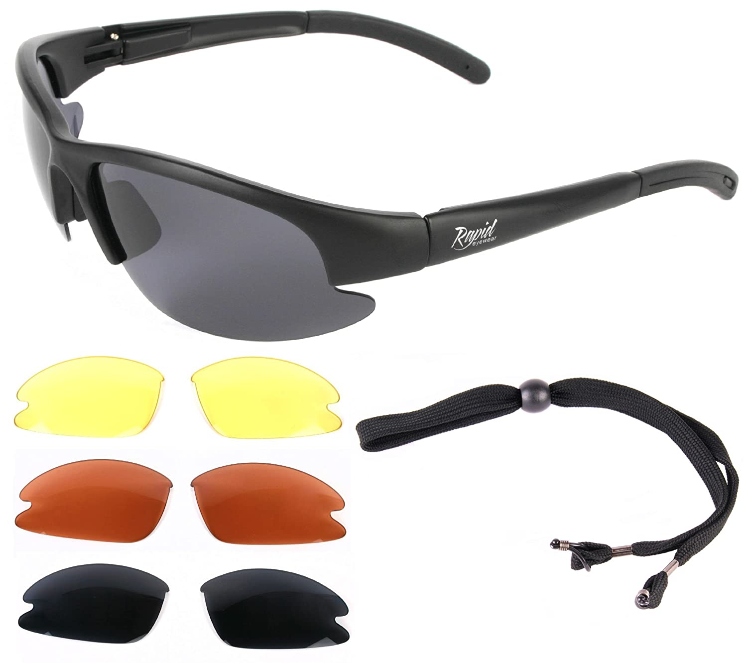 'Mile High' Cruise (Black) PILOT SPEC SUNGLASSES for Flying, Running, Cycling, Sailing & Other Sports. Interchangeable lenses, inc. Low Light. UVA / UVB (UV400) Protection. For Men & Women Rapid Eyewear RAP24