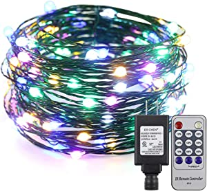 ER CHEN 33ft Led String Lights, 100 Led Starry Lights on 10M Green Copper Wire String Lights Power Adapter + Remote Control(Multicolor)