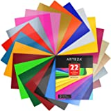 "Heat Transfer Vinyl Set, 22 Flexible HTV Sheets, 10"" x 12"" Each, Super Sturdy & Easy to Weed, 100% Safe & Nontoxic, Use with Any Craft Cutting Machine, Assorted Brilliant Colors, Boxed, by Arteza"