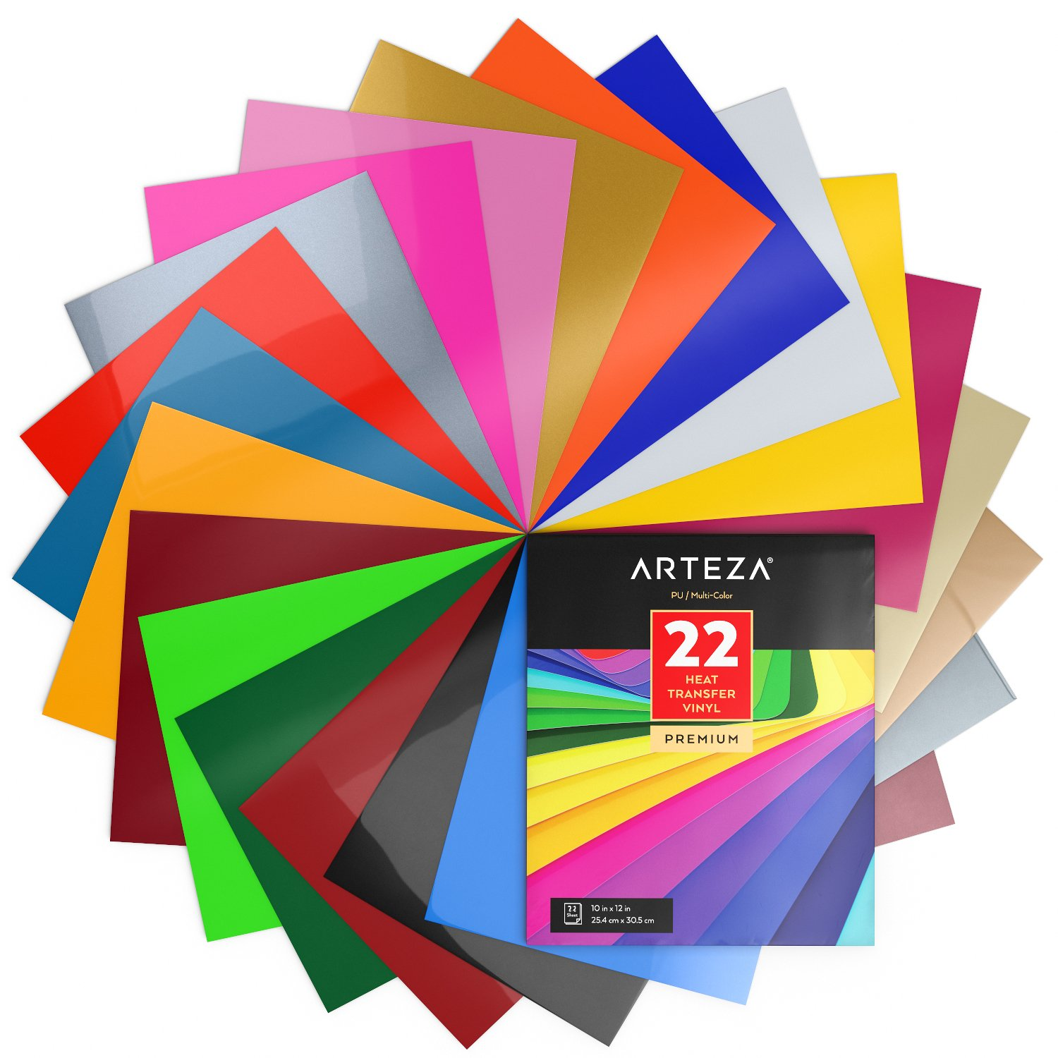 """ARTEZA Heat Transfer Vinyl Set, 22 Flexible HTV Sheets, 10"""" x 12"""" Each, Super Sturdy & Easy to Weed, 100% Safe & Nontoxic, Use with Any Craft Cutting Machine, Assorted Brilliant Colors, Boxed"""