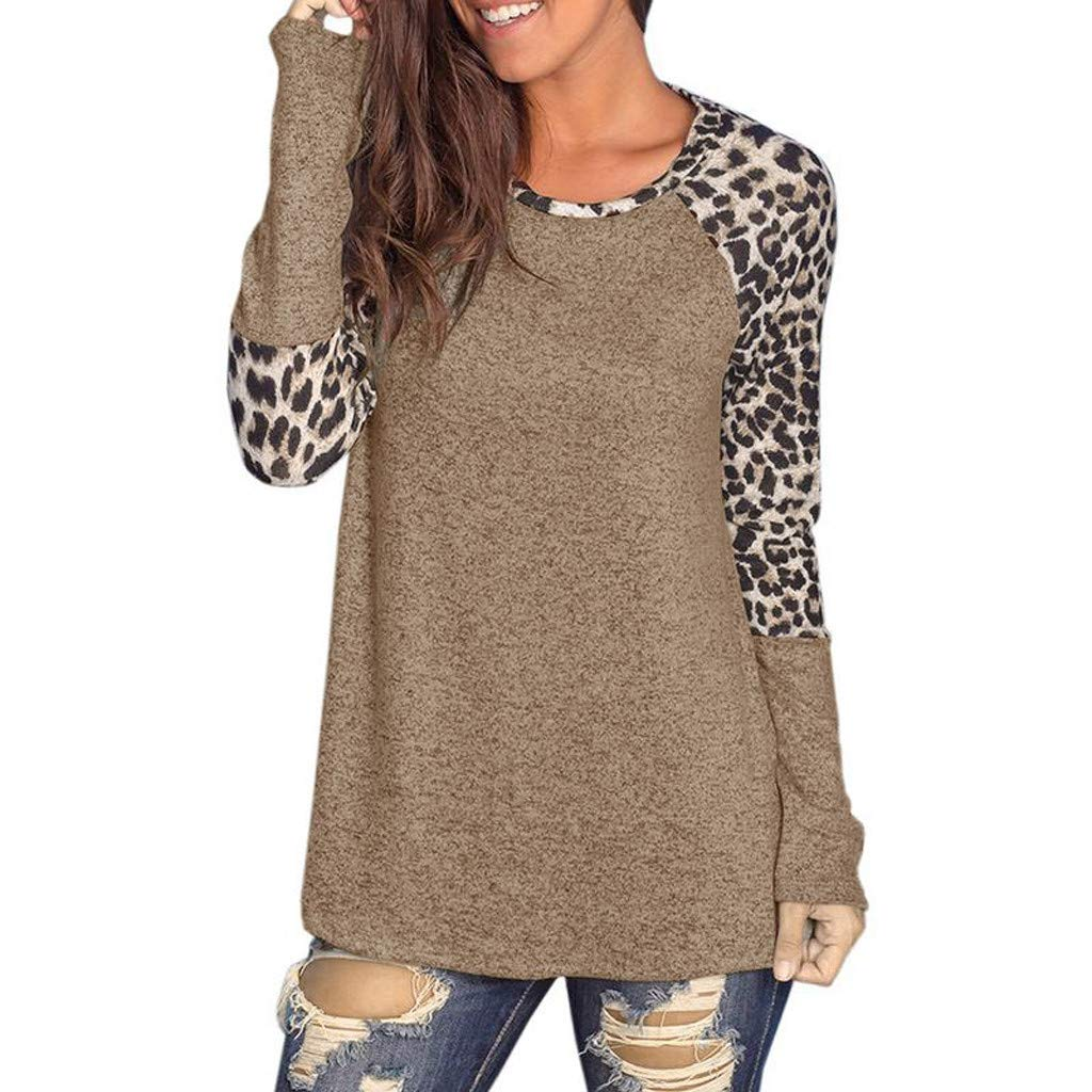 Willow S Women Fashion Sport Casual O-Neck Leopard Printing Patchwork Long Sleeve Loose T-Shirt Tops Blouse Khaki