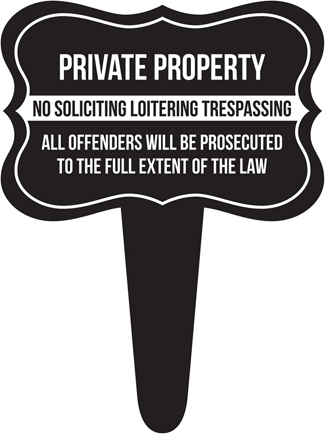 iCandy Combat Private Property No Soliciting Loitering Trespassing Home Yard Lawn Sign, Black, 12x16, Single