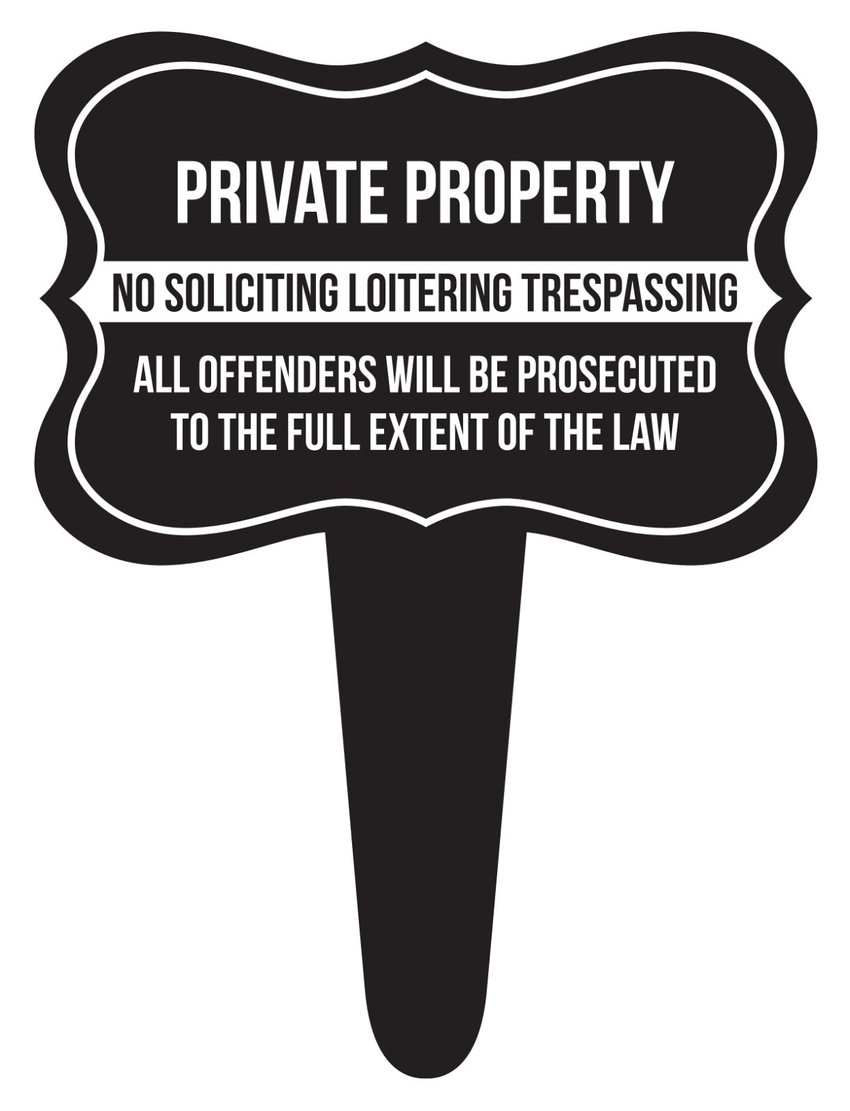 iCandy Combat Private Property No Soliciting Loitering Trespassing Home Yard Lawn Sign, Black, 12x16