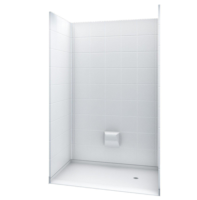 "durable service 54.25"" x 36.875"" White 5-Piece Barrier-Free Modular Shower Surround - Right Drain"