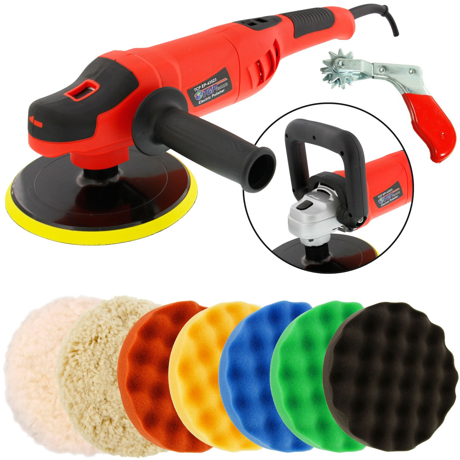 TCP Global Powerful 7'' Variable Speed Polisher with Digital RPM Display with 6-Waffle Foam Polishing Pads