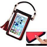 LKZAIY PU Leather Crossbody Bag Mini Phone Pouch with Shoulder Strap for iPhone X,8 Plus, 7 Plus, 6S Plus, 6 Plus,8, 7, 6S, 6, 5S, 5C, Samsung S8, S7 Edge, S6 Edge+, S6, S5, S4, J3, J7 (Black+Red)