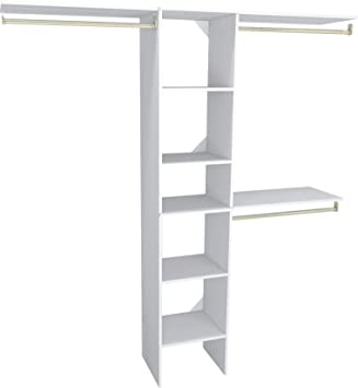 ClosetMaid 1951040 SuiteSymphony 16 Inch Closet Organizer With Shelves,  Pure White