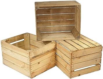 Juego de 3 cajas viejas, cajas de fruta usadas, cajas de vino, aspecto usado, para decoración, almacenaje y para hacer muebles: Amazon.es: Hogar