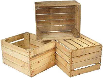 Juego de 3 cajas viejas, cajas de fruta usadas, cajas de vino, aspecto