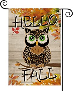 AVOIN colorlife Fall Garden Flag Owl Maple Leaf Vertical Double Sided, Hello Fall Mini Flag, Autumn Harvest Thanksgiving Holiday Yard Outdoor Decoration 12.5 x 18 Inch