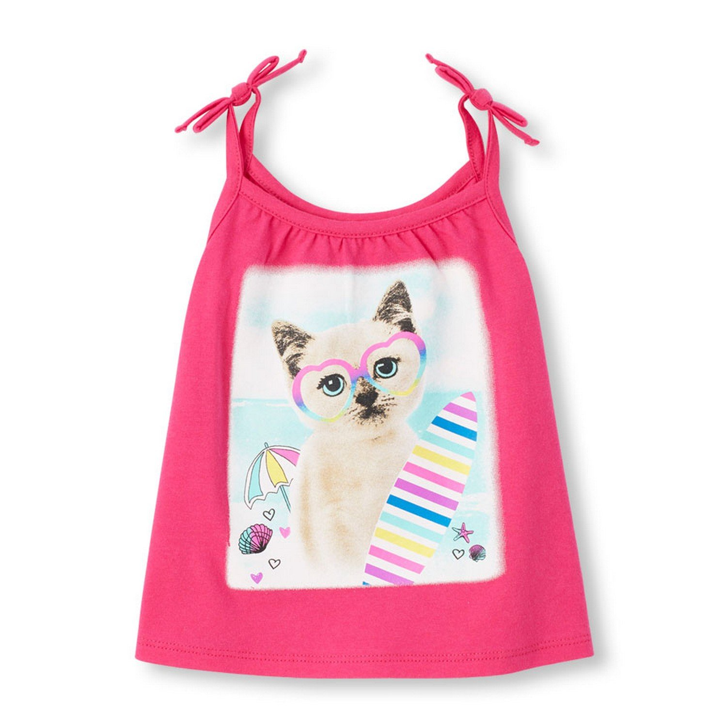 3a70fce613171 The Children s Place Girls  Sleeveless Tie-Strap Tank Top  (2063616 Watermelon 4Y)  Amazon.in  Clothing   Accessories
