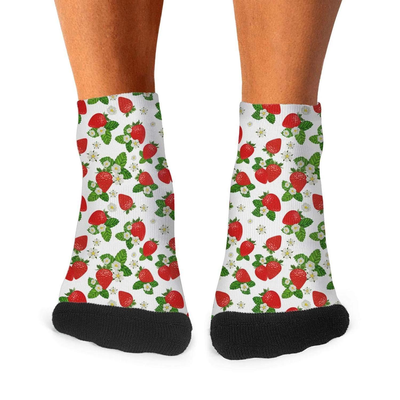 Mens athletic low cut Ankle sock Strawberry plants fruit Breathable Short Socks