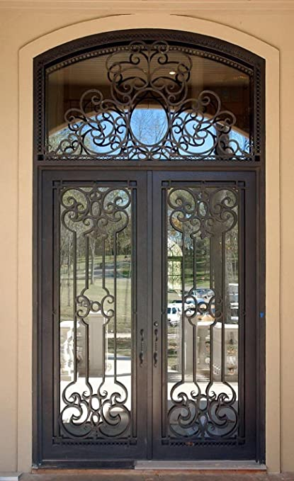 72 X 108 Stunning Wrought Iron Doors With Glass And Transom